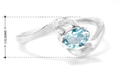 925 Sterling Silver Ring Bleu Naturel Topaz lunette Solitaire Taille 5 6 7 8 9 10 11