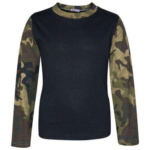 Kids Boys Girls Pjs Contrast Camouflage Green Plain Stylish Pyjamas Set 2-13 Yrs
