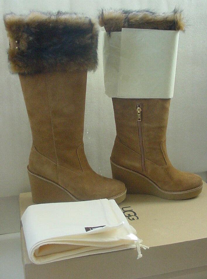 NIB UGG Australia Valberg Chestnut Boots Wedge Wildleder Tall Fur Damen Größe 6-10