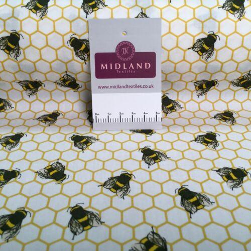 100/% Cotton Poplin Bee/'s printed craft Fabric 110 cm MD1397 Mtex