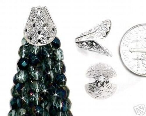 50* Fancy Filigree Silver Cone Caps Fit 12-14mm Beads