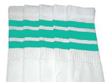 "22"" KNEE HIGH WHITE tube socks with Aqua stripes style 1 (22-153)"
