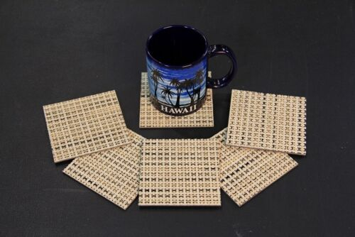 CHILEWICH BASKETWEAVE STRAW Non Skid Moisture Proof Set of Matching Coasters