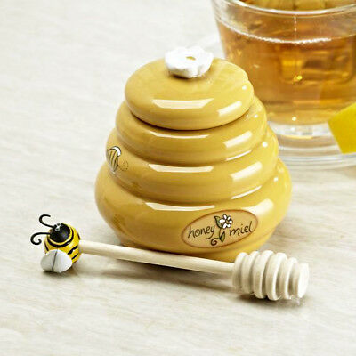 Brand New Ceramic Bee Hive  HONEY MIEL Pot Jar with Wooden Honey Dipper Mustard
