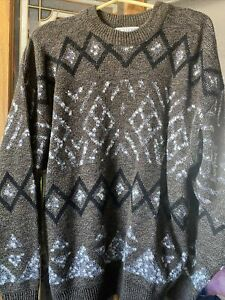 Vintage-Le-Tigre-90s-COOGI-Bill-Cosby-Style-Pullover-Strick-Braun-Herren-Diamant-XL