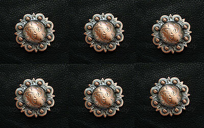 """Set of 6 WESTERN HORSE HEADSTALL SADDLE COPPER BERRY CONCHOS 1-1/2"""" screw back"""