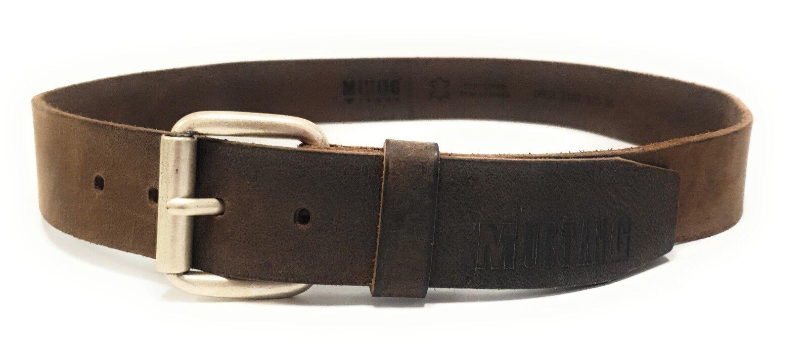 MUSTANG Herren Designer Leder Gürtel Lederriemen Jeansgürtel Braun W95 M19