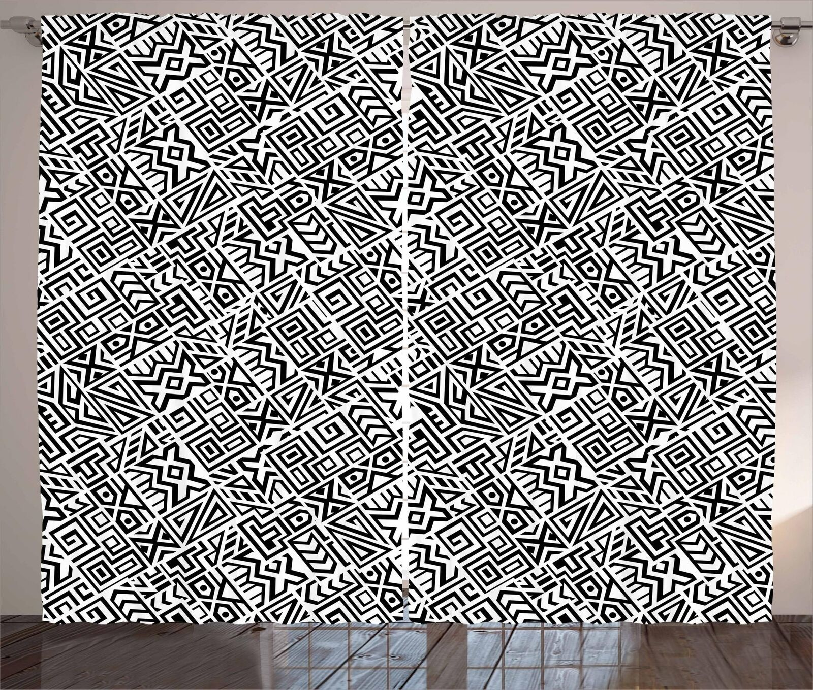 Ethnic Monochrome Curtains 2 Panel Set Decoration 5 Dimensiones Window Drapes