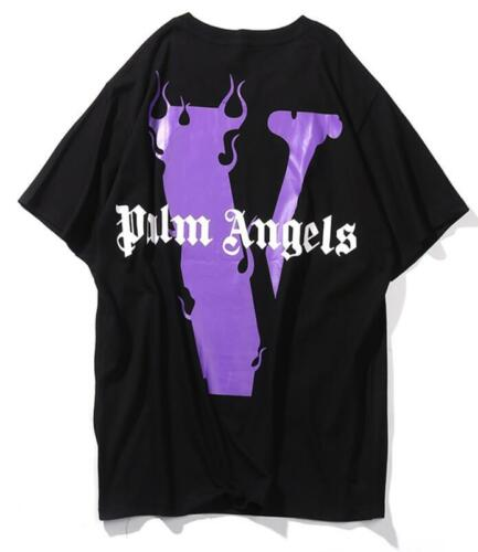 Palm angels X Vlone TEE Flames letter Miami big V short sleeve T-shirt