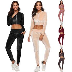 super günstig im vergleich zu näher an günstig kaufen Details zu Frauen Samt Trainingsanzug Jacke Hosen Sportbekleidung  Reißverschluss Anzug