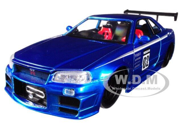 JADA TOYS JADA99115 NISSAN SKYLINE GT-R R34 2002 N.02 BLUE JDM TUNERS 1:24