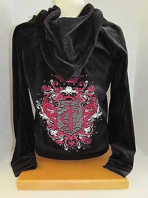 NWT Women Juicy Couture Pleat Neck Velour Hoodie Color Black