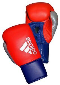 Adidas гибрид 200 на шнуровке кожаные боксерские перчатки для спарринга, синяя, красная, 12 унций (примерно 340.19 г.), 14 унций (примерно 396.89 г.), 16 унций (примерно 453.58 г.)