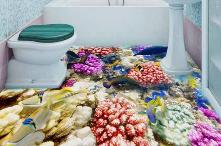 3D Clownfish Corals 4 Floor WallPaper Murals Wall Print 5D AJ WALLPAPER UK Lemon
