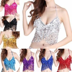 34a21b5598d0 UK Belly Dance Bra Sequined Bead Top Sexy Dancing Costume Fringe BH ...