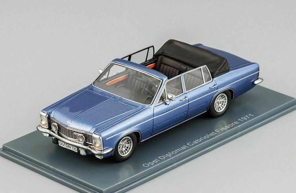 OPEL DIPLOMAT, B, Cabriolet, Fissore, 1971, bleu, 1 43, Voiture Modèle, neo.