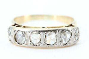 0,69 ct. Diamant Ring Gold 585 antik Rosenschliff 8 Diamanten 14K Gelbgold Gr 61