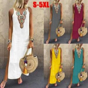 Womens-Summer-Casual-Beach-Boho-Long-Maxi-Dress-Dress-Sleeveless-Sundress-Size