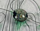 ROA Lampwork 1 Black Raku 18 mm Lentil Handmade Art Glass Beads SRA
