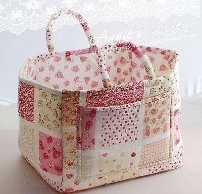 Annie Cherry Print Patchwork Storage/Laundry Basket/Bag B08 with Cath Kidston Fa