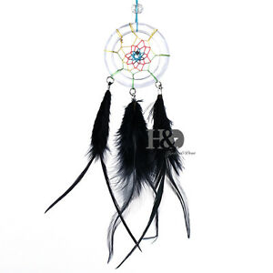 Black-Feather-Crystal-Suncatcher-Pendant-Car-Hanging-Drop-Dream-Cather-Gift
