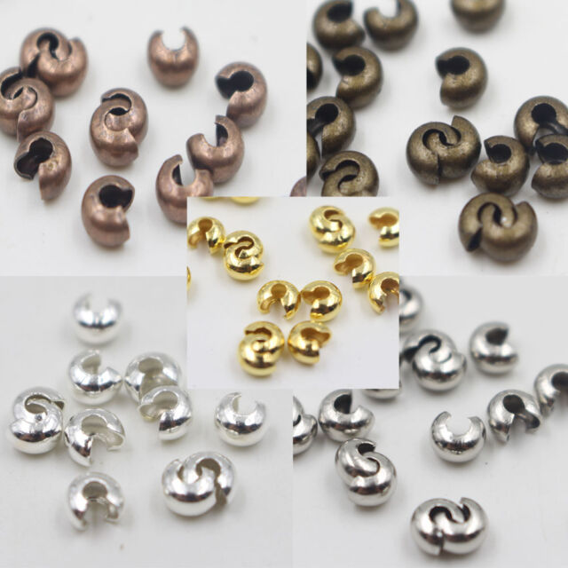 Wholesale 200Pcs Crimp Bead Cover Jewelry Findings Hide Knots & End Beads Metal