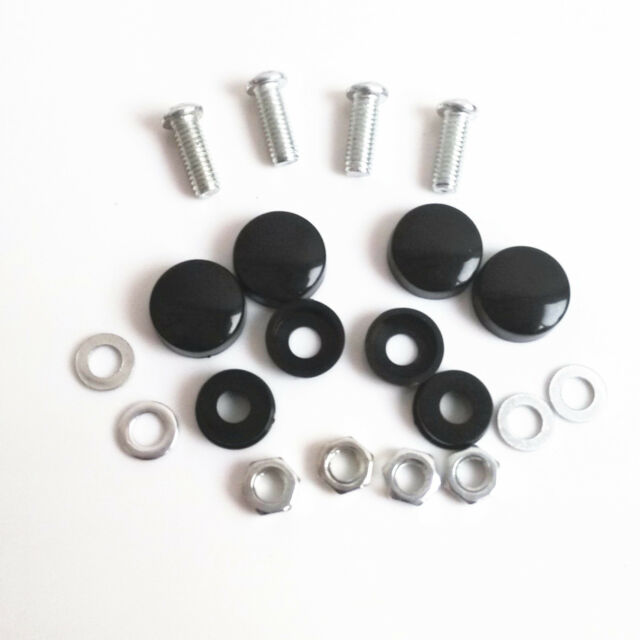 4 Pcs Black License Plate Frame Security Screw Bolt Caps Covers For Car Truck