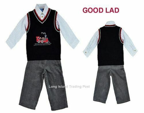 Good Lad Boys 3-Piece Quality Outfit Sweater Vest Shirt Pants Train Set NWT$62