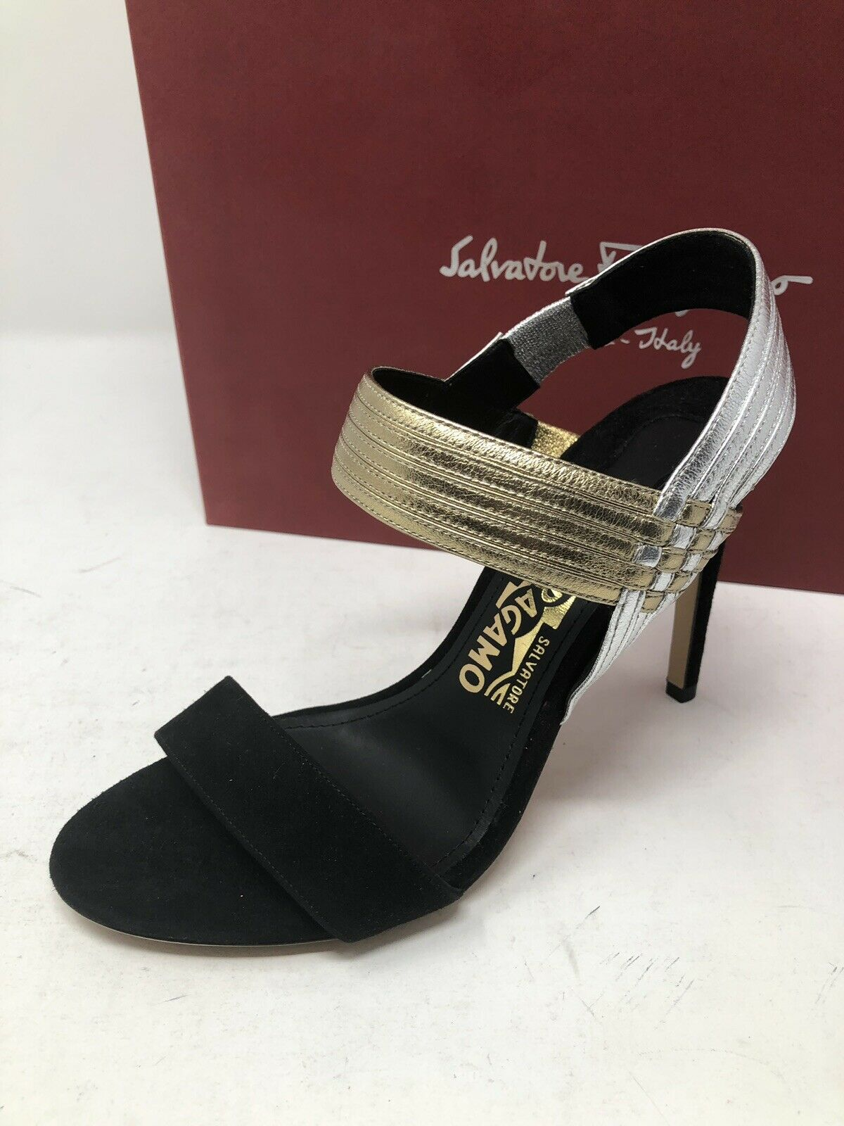 850 New Salvatore Ferragamo Womens Black shoes Ladies Sandals Heels Size 6 36