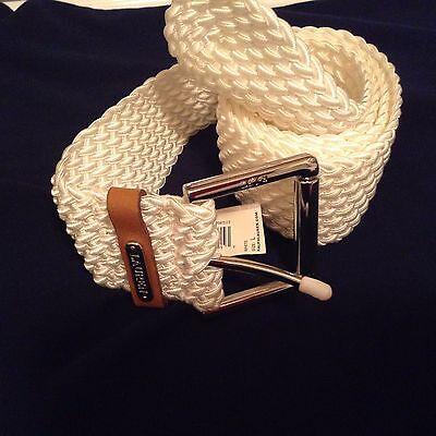 $78 Lauren By Ralph Lauren Tessuto E Pelle Cintura Bianco Panna Taglia L Prezzo Di Vendita
