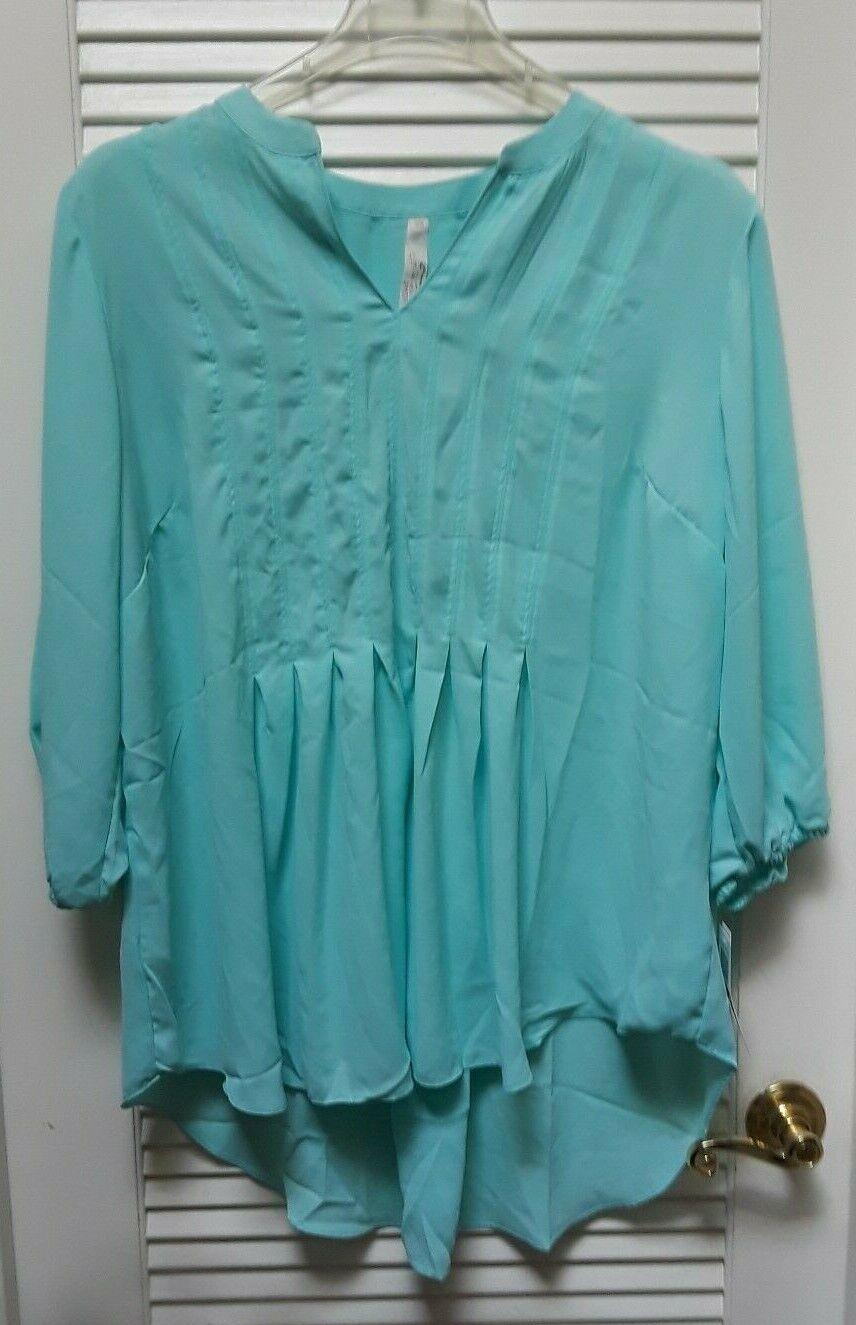 Melissa McCarthy Seven 7 Trendy High-Low Blouse Top Aruba Blau Plus Größe 2X NWT