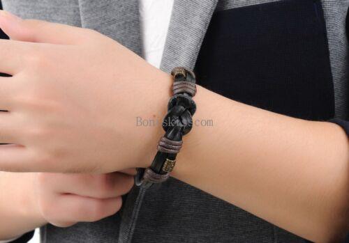 Cuir Noir Cordon Tressé Love Infinity Symbole Cuff Bracelet Bracelet Pour Hommes