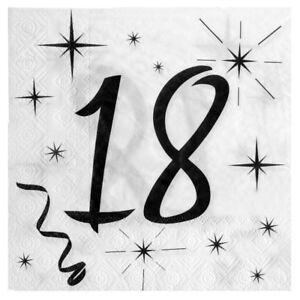 18 Geburtstag Servietten Schwarz Weiss Tischdeko Dekoration Passende