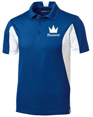 Brunswick Men/'s Method Performance Polo Bowling Shirt Dri-Fit Royal Blue