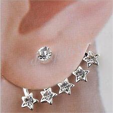 18K White Gold Filled Faddish Five Pentagram Drop Shaped Stud Post Earring H024