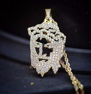 Iced out hip hop gold jesus piece pendant and chain necklace ebay image is loading iced out hip hop gold jesus piece pendant aloadofball Images
