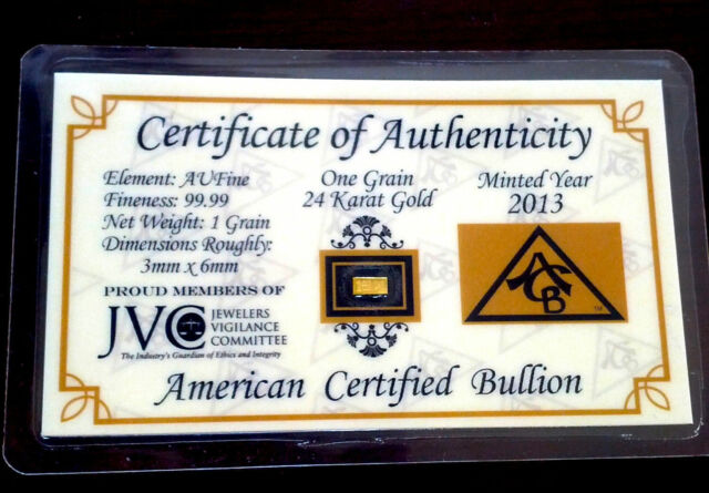 ACB Platinum 1GRAIN SOLID BULLION MINTED BAR 99.9 Pure PT W// COA !