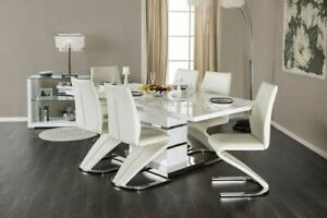 NEW-MODERN-SORRENTO-WHITE-GLOSSY-LACQUER-CHROME-DINING-TABLE-SET-Z-SHAPE-CHAIRS