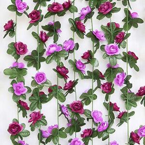 2-5m-Kuenstliche-Blume-Seide-Rose-Leaf-Garland-Vine-Ivy-Hochzeits-Schlafzim-Dekor