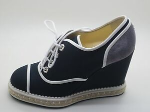 1891dca5a614  975 Chanel Navy White Grey Lace Up Wedge Espadrilles Shoes 38.5 ...