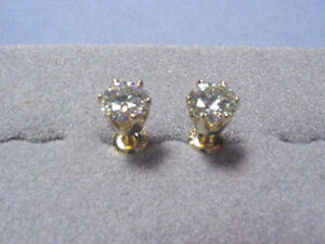 f7ee710a3 Moissanite Earrings 2 ct twt Rnd 6 prong Screwbacks 14K Yellow ...