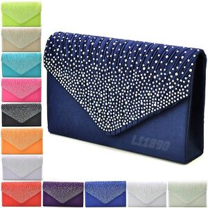 63d2784865c2 Womens Satin diamante Clutch Bag Evening Bridal Bag Wedding Fashion ...