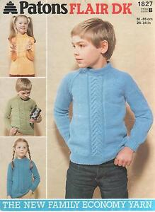 Vintage-Patons-Knitting-Pattern-No-1827-Sweaters-in-DK-Sizes-24-34-inch