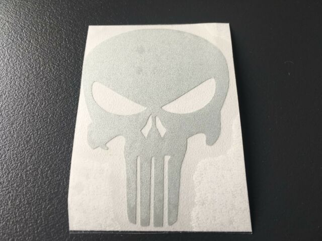Sticker Punisher Retro Reflective Colour silver Helmet Motorbike Scooter Bicycle
