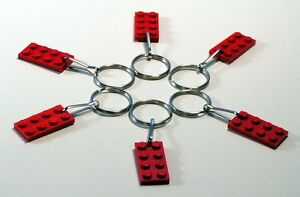 Gift Party Favor Game Prize 50 Lot Key Chain w// Lego 3020 2x4 Red brick Plate