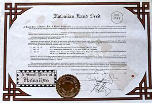 Unusual Gift of Hawaiian Land, Real Deed, Square Inches