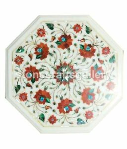 White Marble Coffee Table Top Carnelian Floral Inlay Handmade Home Decorate W024