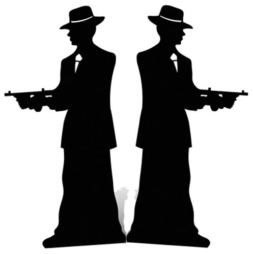 Gangster Silhouette Double Pack Cardboard Cutout Figure 185cm Tall-At your Party