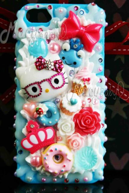 Hello Kitty kawaii decoden bling whipped cream case for ALL Samsung models
