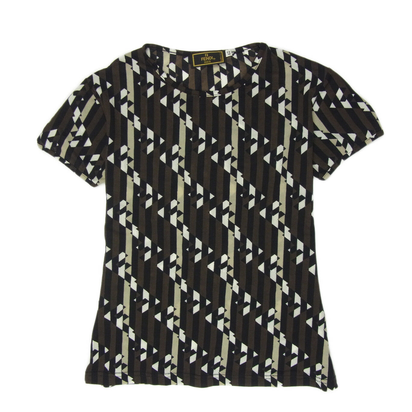 Auth FENDI Vintage Logos Stripe Pattern T Shirt Tops Sz 42 US M F S 1733